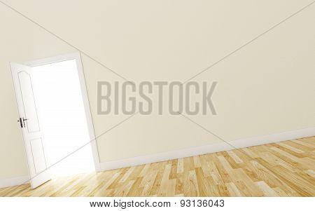 Closed White Door on brown Wall, Wood Floor
