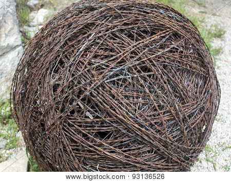 large ball of barbed wire