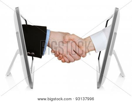 Virtual handshake.  Internet business concept isolated on white