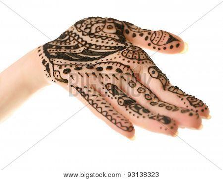 Henna on female hand isolated on white
