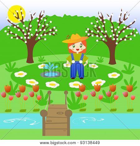 Little gardener in a flower garden