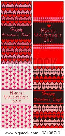 Greeting templates with embroidery for Valentines Day