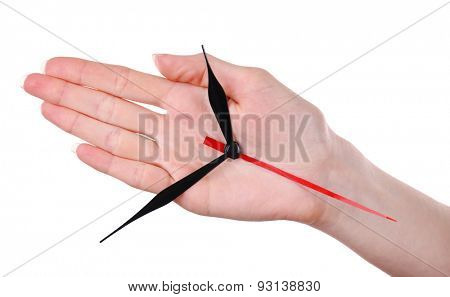 Hand holding clock arrows isolated on white