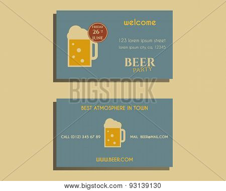 Beer Party Visiting Card Template With Glass Of Beer. Vintage Design For Club, Pub Or Night Beer Par
