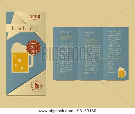 Beer Party Flyer Invitation Template With Glass Of Beer And Infographic Elements. Vintage Design For
