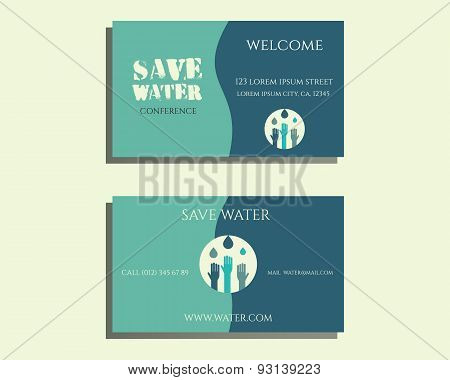 Save Water Conference Visiting Card Template With Drops And Hands Logo Template. Isolated On Bright