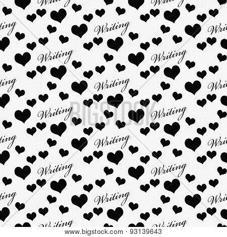 Black And White I Love Writing Tile Pattern Repeat Background