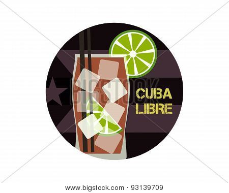 Cuba Libre Cocktail. Can Be Used As Icon, Logo Template, Illustration Or Another Way. Modern Design.