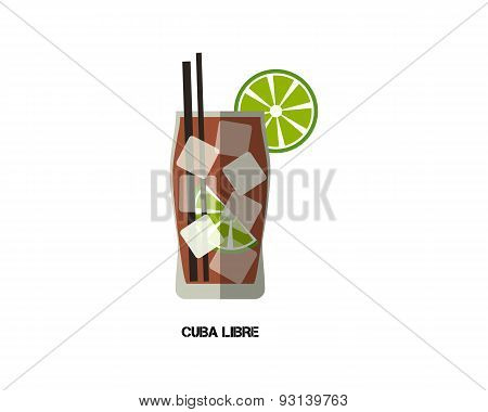 Cuba Libre Cocktail. Modern Flat Design. Isolated On White Background. Vector