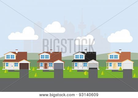 Suburban Street Vector Illustration. Vector Illustration of american suburban street with almost similar houses. City skyline silhouette in background. Flat design.