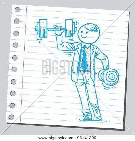 Businessman lifting dumbbell