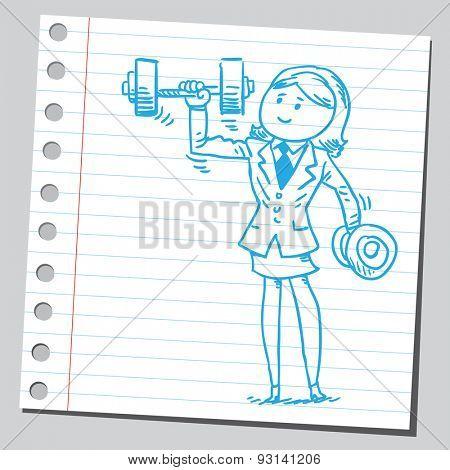 Businesswoman lifting dumbbell