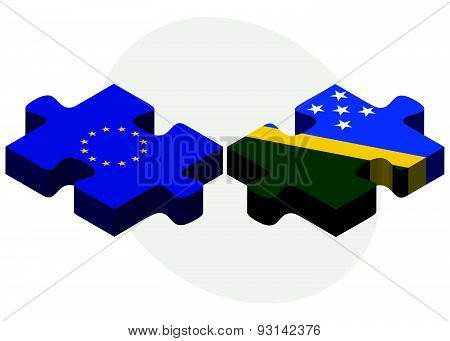 European Union And Solomon Islands Flags