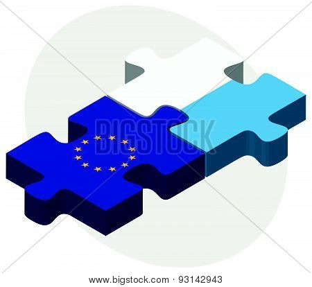 European Union And San Marino Flags In Puzzle