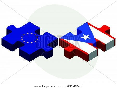 European Union And Puerto Rico Flags