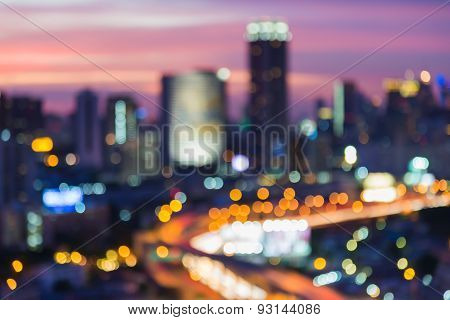 Blur bokeh city road with city light background
