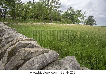 old limestone fence, grassy meadow