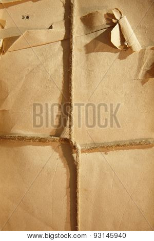 Antique Broken Packaging Wrapped With A String In Warm Tone