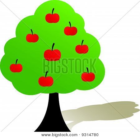 Green tree with apple. Vector illustration