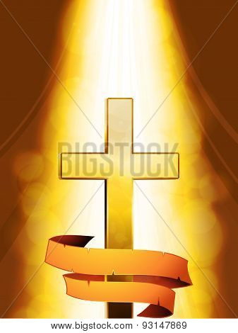 Mystic Cross With Banner On Golden Background
