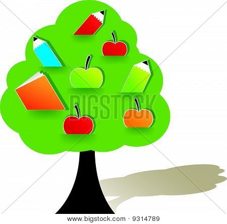 Green tree with apple.