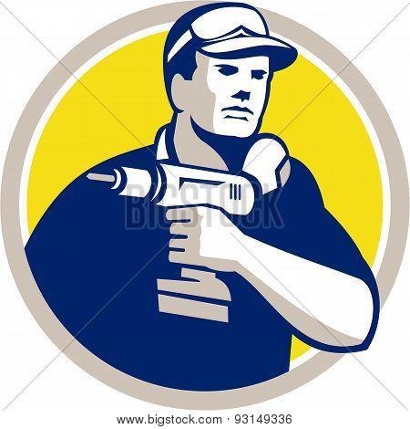 Handyman Holding Power Drill Circle Retro