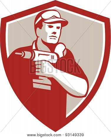 Handyman Holding Power Drill Crest Retro