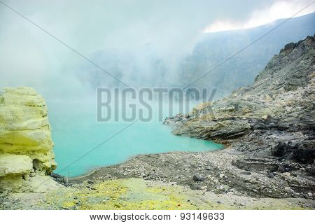 Kawah Ijen Volcano In East Java , Indonesia