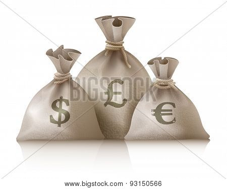 Sacks with money currencies dollar euro and pound. Eps10 vector illustration. Isolated on white background