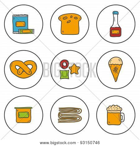 Set of cute hand drawn colorful icons with allergic gluten products: bread, pastry, pasta, beer, yog