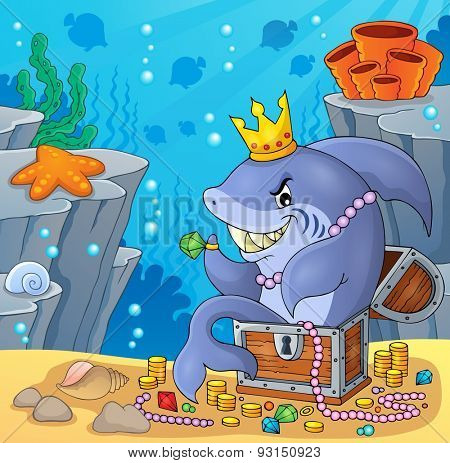 Shark with treasure theme image 4 - eps10 vector illustration.
