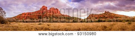 Cathedral Rock Butte in Sedona, Arizona before sunset