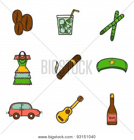 Set of cute hand drawn colorful icons on Cuba theme