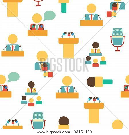 Seamless background on public speaking theme with flat objects: people, microphones, speakers, tribu