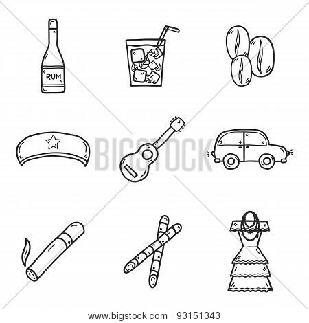 Set of cute hand drawn icons on Cuba theme