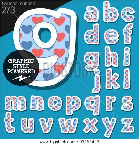 Vector children alphabet set in redneck heart style. File contains graphic styles available in Illustrator. Lowercase letters