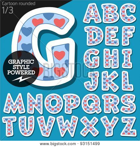 Vector children alphabet set in redneck pink heart style. File contains graphic styles available in Illustrator. Uppercase letters