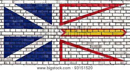 Flag Of Newfoundland And Labrador Painted On Brick Wall