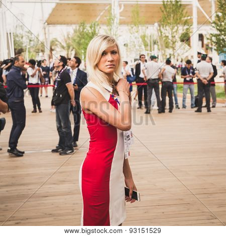 Beautiful Hostess Outside Russia Pavilion At Expo 2015 In Milan, Italy