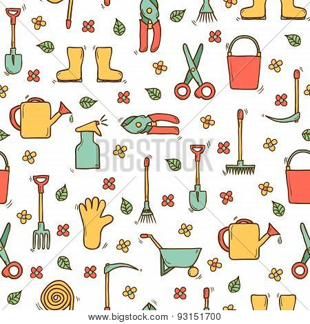 Seamless background with cute hand drawn garden tools objects