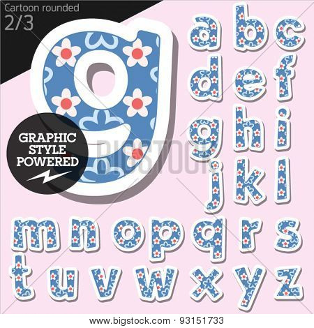 Vector children alphabet set tender floral style. File contains graphic styles available in Illustrator. Lowercase letters