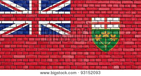 Flag Of Ontario Painted On Brick Wall