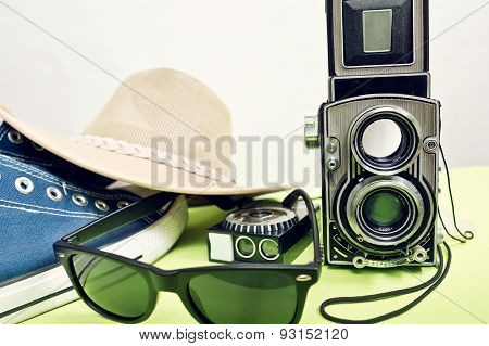 Twin-lens Reflex Camera With Sneaker