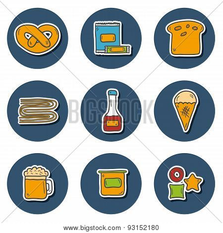 Set of cute hand drawn colorful stickers with allergic gluten products: bread, pastry, pasta, beer,