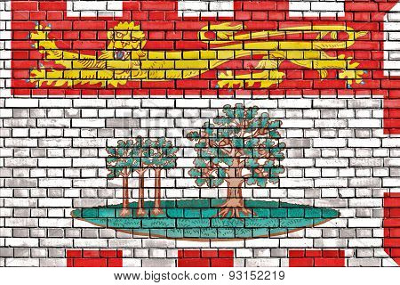 Flag Of Prince Edward Island Painted On Brick Wall