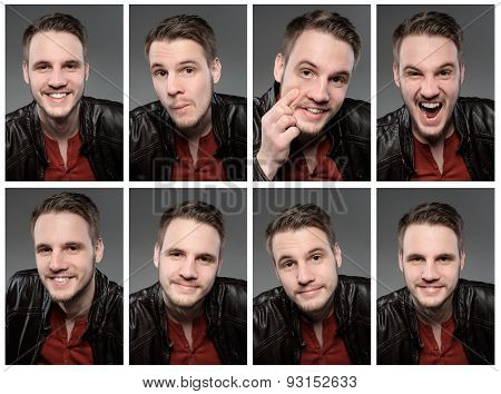 Set Of Expresions Of Handsome Man With Beard