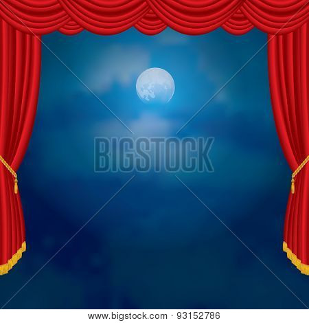moonlight on red curtain stage