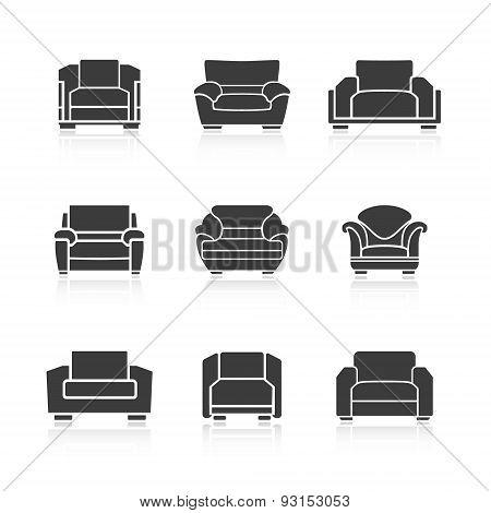 Set Of Black Armchairs