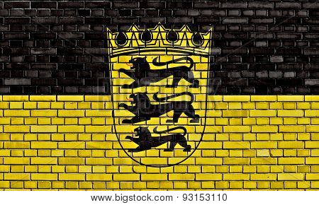 Flag Of Baden Wurttemberg Painted On Brick Wall