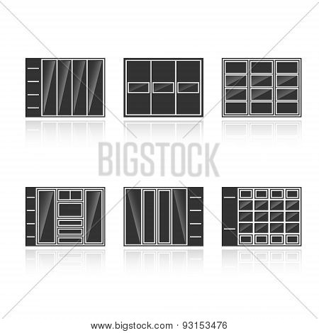 Set Of Black Silhouettes Cupboards